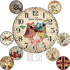 """12""""  Large Wall Clock- Resin Analogue Vintage Rustic Style Living Room Parlor"""