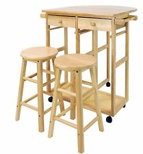 Dining Table Island Cart Kitchen Rolling Folding Compact Small Wood Furniture