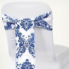 5/PK ~NEW~ Flocking Damask Chair Sash Bow Wedding Party Banquet 10+ Colors!