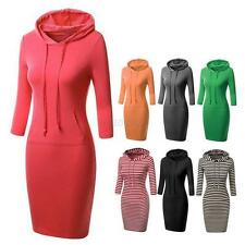 Vogue Women Hooded Hoodies Hoody Sweatshirt Ladies Bodycon Pullover Jumper Dress