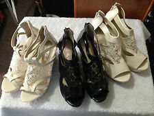 New Woman Beige Black Platforms Wedges high heels lace Shoes size 38,40,41