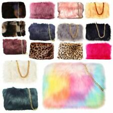 WOMEN'S FLUFFY PLAIN FAUX FUR SILVER CHAIN STRAP CLUTCH DESIGNER HANDBAG