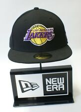 New Era 59FIFTY NBA Los Angeles Lakers Crest Logo Black Baseball Hat Fitted Cap