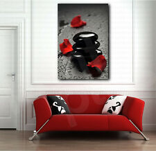 Black SPA Stones and Red Petals Canvas Art Poster Print Wall Decor