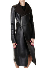 RICK OWENS LILIES New Woman Black EILEEN Leather Zipped Coat Made in Italy