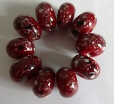 10 TRANSPARENT RED WITH BLACK/WHITE  FRIT LAMPWORK BEADS  SRA