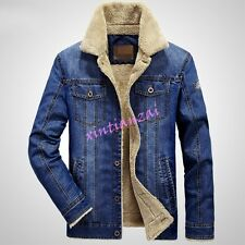 Mens Boy Denim Cowboy Fur Lined Warm Cotton Coat Slim Jeans Jacket Outwear M-4XL