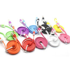 For android iPhone 5/S/C 6/Plus 3FT Flat Noodle USB Sync Data Charger Cable Cord
