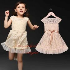 Baby Girls Lace Dress Cap Sleeve Toddler Kids Party Dresses Wedding Christening