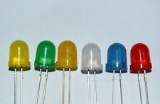 Diffused LEDs 8mm Red, Blue, White, Green, Yellow, Orange - UK Seller