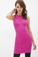 Forever 21 Fuchsia Mesh Crisscross-Back Bodycon Party Dress Large L