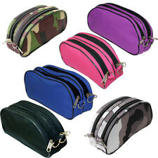 Large Double Zip Fabric Pencil Case Blue Black Pink Purple School Makeup FreeP&P