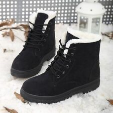 Winter Womens Ankle Snow Boots Plush Warm Suede Shoes Casual Lace-up Moccasins