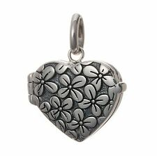 925 Sterling Silver Flower Locket Pendant Necklace (Chain Included)