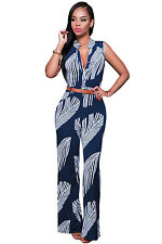 Sexy Women Bodysuit & Romper  Navy White Print Button Front Belted Jumpsuit