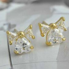 Clear CZ/Red Ruby Heart Earings Cute Bow Stud Earrings Yellow Gold Filled lot