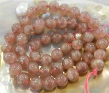 8/10mm Natural Red Strawberry Quartz Crystal Round Loose Beads Gemstone 15""