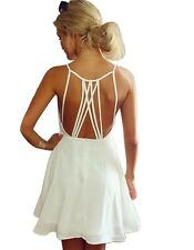 Women Crochet Chiffon Summer Beach Mini Dress Vestidos White Party Dresses