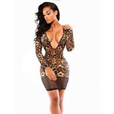 Ladies see through long sleeve dress four colors comfortable lace bodycon dress