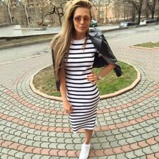 Women Dress Short Sleeve Striped Dress O-Neck Slim Dress Striped T Shirt Dress