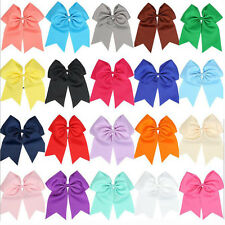 8 Inch Solid Colors Cheerleading Boutiqiue Cheer Bow With Elastic Band For Girls