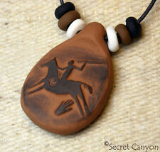 ~NATIVE AMERICAN HUNTER~ Primitive Spirit Horse Clay Pendant Necklace + Beads