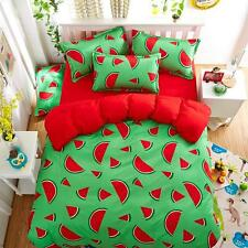 4pcs Bedsheet Pillowcase Duvet Cover Bed Quilt Bedlinen Fruit Watermelon Bedding