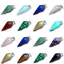 Crystal Gemstone Pendulum Healing Dowsing Reiki Chakra Pendant Necklace New