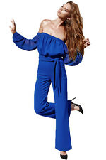 Sexy Women Bodysuit  Royal Blue Tie Waist Long Sleeve Off Shoulder Jumpsuit