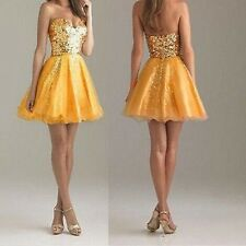 Women Sequin Short Mini Strapless Formal Wedding Ball Gown Prom Party Dress