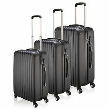 """20""""- 28"""" Lightweight 4 Wheel Hard Shell Cabin Large ABS Luggage Suitcase - Black"""