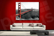 The Golden Gate Bridge Red and Black Monochromatic Canvas Art Poster Print