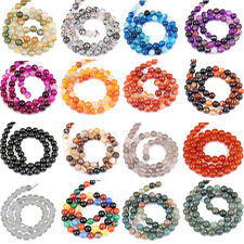 1Bunch Nature Agate Round Gemstone Loose Spacer Beads Stone Craft 4/6/8/10/12mm