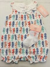 NWT Gymboree Baby Girl seahorse pink romper one-piece outfit set 0 3 6 9 12