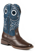 Roper Holey Kids Brown Faux Leather Saddle Western Boots