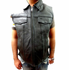 MEN'S SON OF ANARCHY SHIRT COLLAR LEATHER MOTORCYCLE VEST 2 GUN POCKETS NEW
