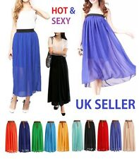 New Ladies Women's Chiffon Long Maxi Skirt Waist Size UK 8-12  lng
