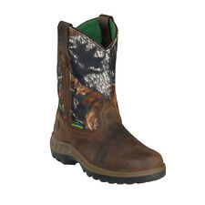John Deere Youth Boys Mossy Leather Waterproof Pull-On Cowboy Boots