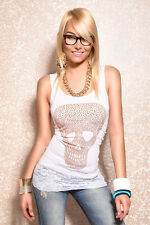 Longtop Melrose Beach top Skull Strass Embellishment Lace white XS S