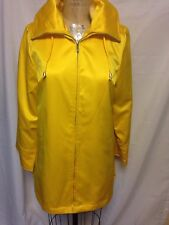 Dennis Basso Water Resistant Satin Jacket w/ Removable Hood S Yellow NWT