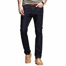 Mens Casual Jeans Cowboy Pencil Jeans Little Stretchy Solid Pants Trousers Denim