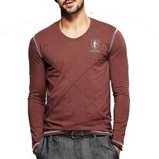 Cotton Mens V-neck Long sleeve Fashion Contract Color Simple T-shirts M-XXXL