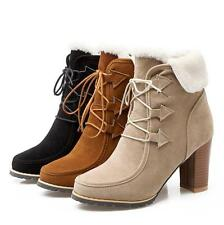 Womens Winter Warm Snow Suede Chunky High Heels Round Toe Ankle Boots Shoes X109