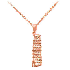 10k Rose Gold Leaning Tower Of Pisa Cathedral of Italy Pendant Necklace