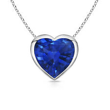 Solitaire Heart Natural Sapphire Pendant Necklace 14k White / Yellow Gold Chain