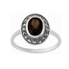 Sterling Silver 1.12ct Smokey Quartz & Marcasite Cluster Ring