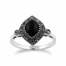 Gemondo 925 Sterling Silver 1.00ct Black Onyx & Marcasite Art Deco Ring