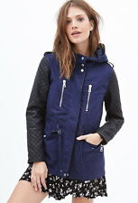 Forever 21 Navy Black Faux Leather Quilted & Hooded Utility Jacket Small S
