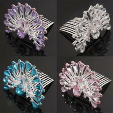 Princess Bridal Wedding Peacock Diamante Rhinestone Women Girls Hair Comb Tiara