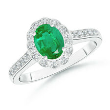 Vintage Style Halo Diamond Emerald Solitaire Engagement Ring 14k Gold Size 6.5